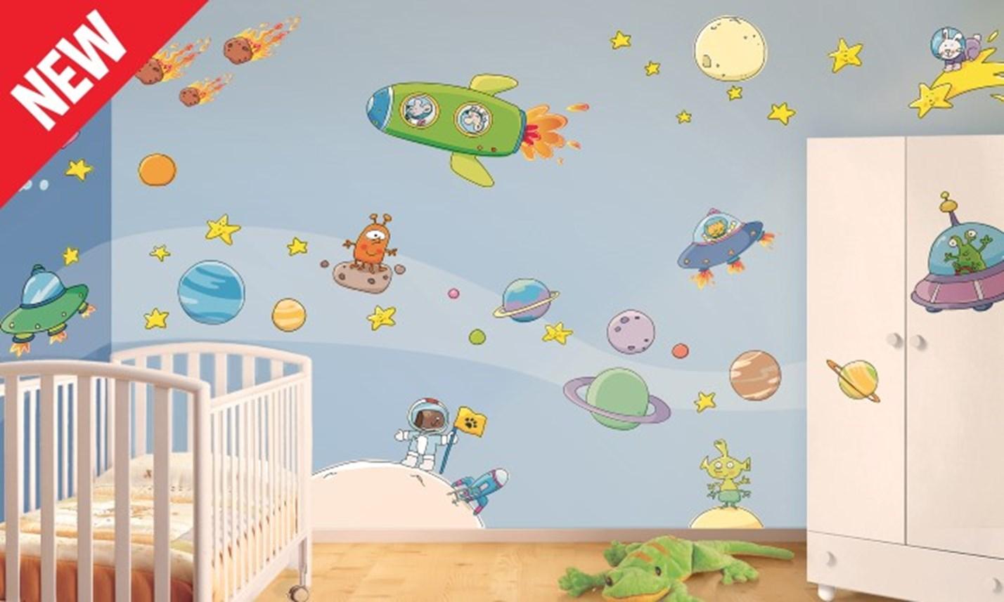 Stickers murali bambini cameretta viaggio nello spazio leostickers - Adesivi murali per camerette ...